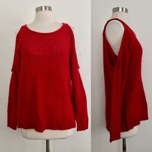 JUSTFab Red Cold Shoulder Scoop Neck Sweater XS